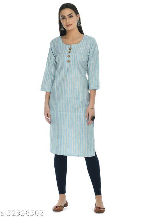 Women Pure Cotton A- Line Striped Kurti