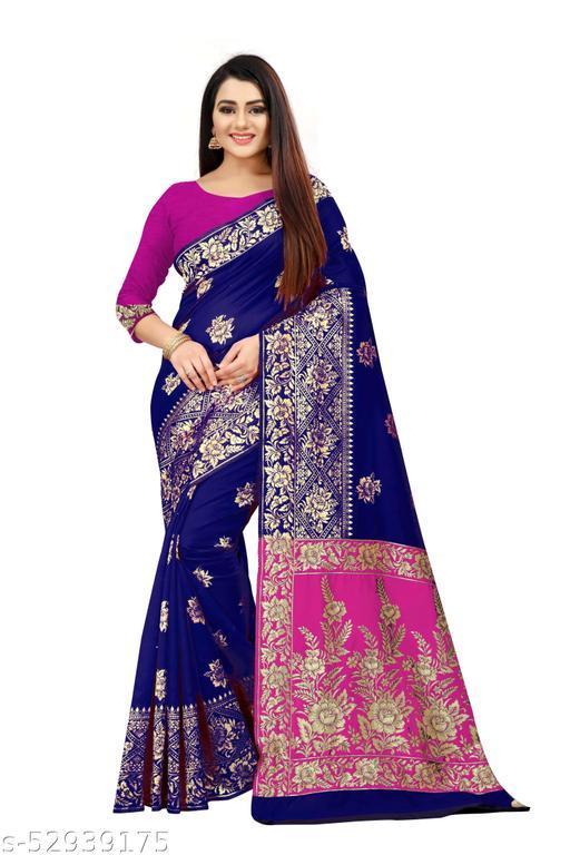 Double Patti Silk Blue saree