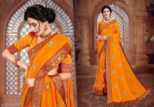 FANCY EMBROIDERY SAREES WITH JACQUARD BORDAR