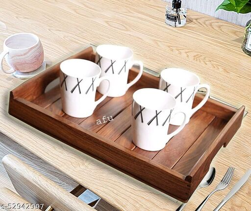 FurnElite Pure Sheesham Wood Heavy Weight Handmade & Handcrafted Wooden Serving Tray(14X10 inches)