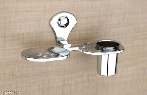 GRIHA Stainless Steel Soap Dish with Tumbler and Toothbrush Holder - Bathroom Accessories - Chrome Finish - Unique Collection