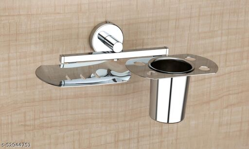 GRIHA Stainless Steel Soap Dish with Tumbler and Toothbrush Holder - Bathroom Accessories - Chrome Finish - Lotus Collection