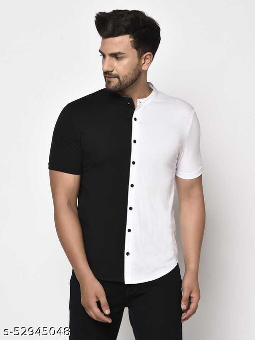 Pagalpan Men's Cotton Regular Fit Collar Shirts in White & Black Color