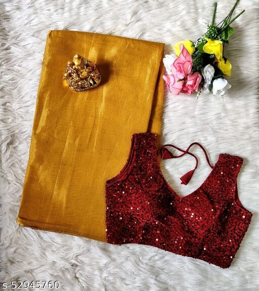 Uppada Tissue Saree With Velvet-Sequence Ready Made Blouse