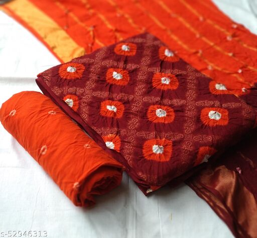 Cotton Banarasi bandhni dress material