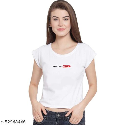 Casual Women's Crop top Half Sleeves Round Neck Regular fit