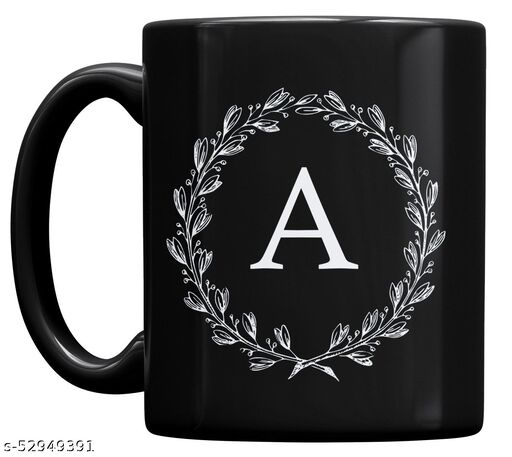 P89M Letter A Alphabet Best Gift for Friends Who's Name Heart With A , Special Birthday Gift for Girlfriend , Couple Mug , I Love You A Letter Black Ceramic Coffee Mug , Lover Mug