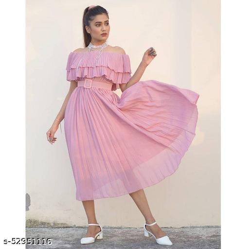 Baby Pink Beige Floral Belted Short Dress