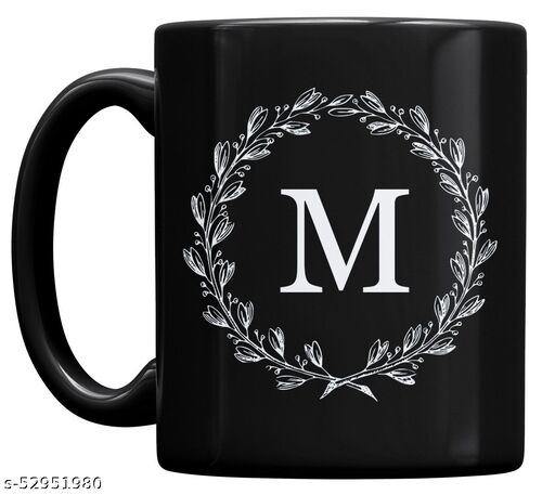P89M Letter M Alphabet Best Gift for Friends Who's Name Heart With M , Special Birthday Gift for Girlfriend , Couple Mug , I Love You M Letter Black Ceramic Coffee Mug , Lover Mug