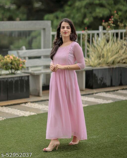 Baby pink Georgette Gowns With Pearl