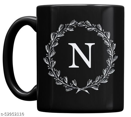 P89M Letter N Alphabet Best Gift for Friends Who's Name Heart With N , Special Birthday Gift for Girlfriend , Couple Mug , I Love You N Letter Black Ceramic Coffee Mug , Lover Mug