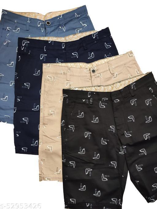 Blue Light Fashionable Cotton Shorts Set of 4(Light Blue, Dark Blue, Light Brown,Black)