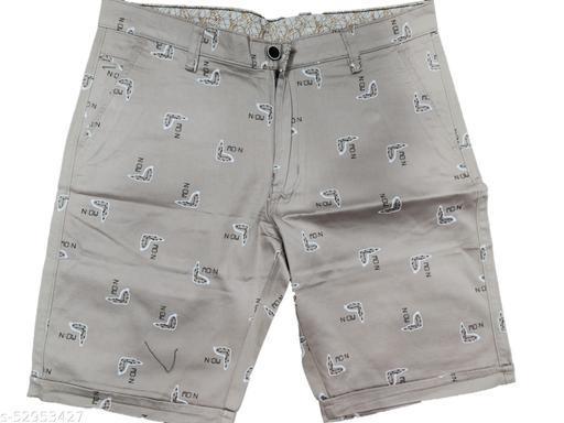 Blue Light Fashionable Cotton Shorts (Light Brown)