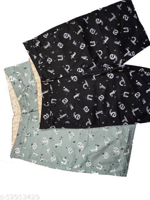 Blue Light Fashionable Cotton Shorts Set of 2 (Olive Green, Black)