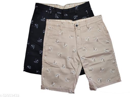 Blue Light Fashionable Cotton Shorts Set of 2 (Black, Brown)