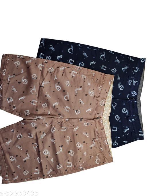 Blue Light Fashionable Cotton Shorts Set of 2 (Blue, Brown)