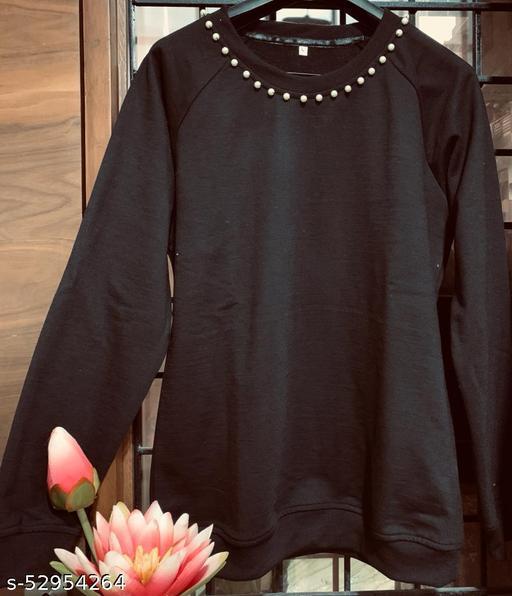 Vogue Index Women Black Pearl Work Sweatshirt