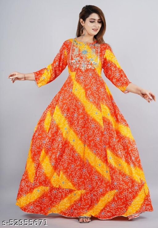 Women Rayon Printed Multicolor Gown