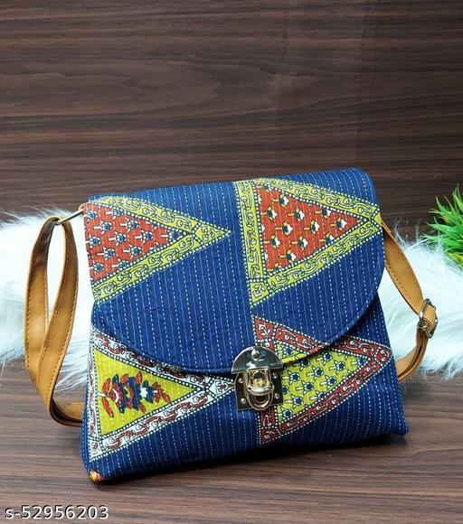 ikat Sling Bag 2 Zip Compartment Front Flap With Lock Back Side Zip Pocket Long Adjustable Belt  Handbags