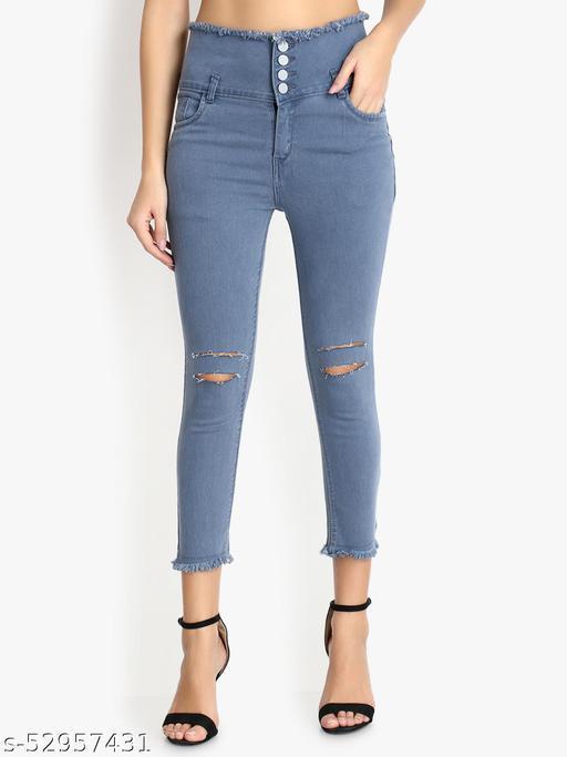 Ladies High Waist Black Knee Cut Jeans