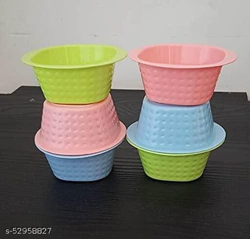Plastic Mixing Bowl Set for Kitchen   Small Bowls for Dining   Unbreakable Plastic Square Katori PACK OF 6