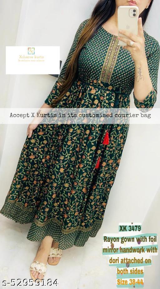 Beautiful Embroidered Printed Rayon Green Anarkali Kurti