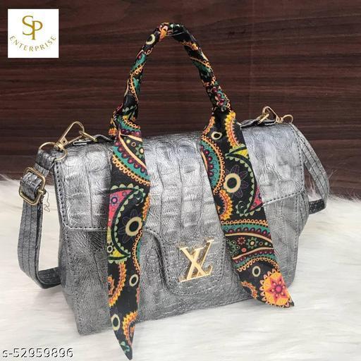 LV Scarf Sling Bag Crocro Material Sling Bag Side Shoulder Messenger Bag Inside Zip Long Adjustable Belt