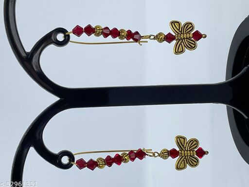 Bonita's Designer Earring with Red Crystals & Butterfly Drops