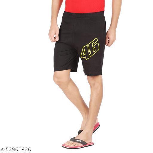 Hotfits Men stylish black cotton shorts