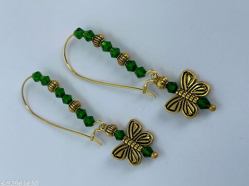 Bonita's Designer Earring with Green Crystals & Butterfly Charms