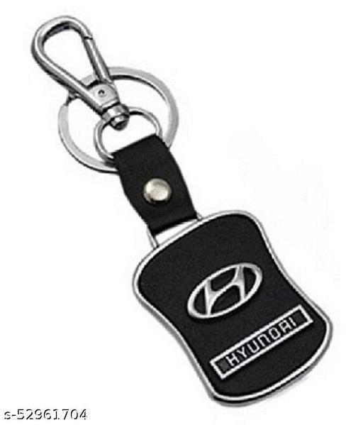 Americ Style Hyundai Logo Leather Metal Hook Locking Key Chain (Black)