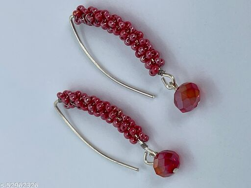 Bonita's Designer Earring with Red See Beads & Crystal Drops