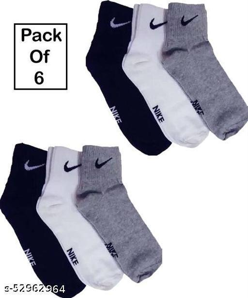 Nike Men's Cotton Ankle Socks Multicolour (Pack of 6)