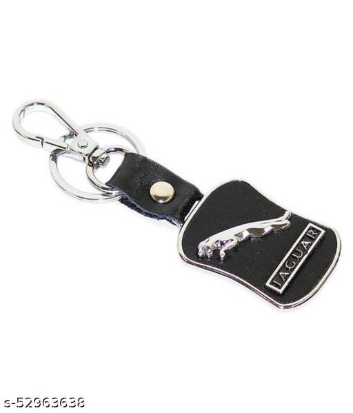 Premium Quality Leather Keychain Compatible for Jaguar with Chrome Metal Locking Key chain