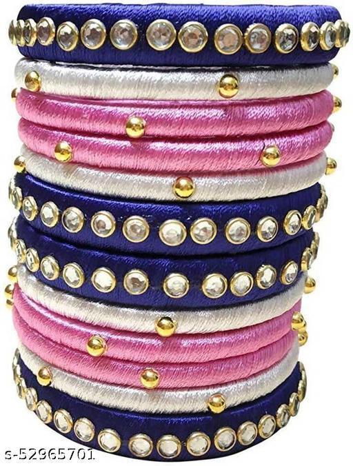 Silk Thread Bangle Set for Women Multicolour (Set of 12)