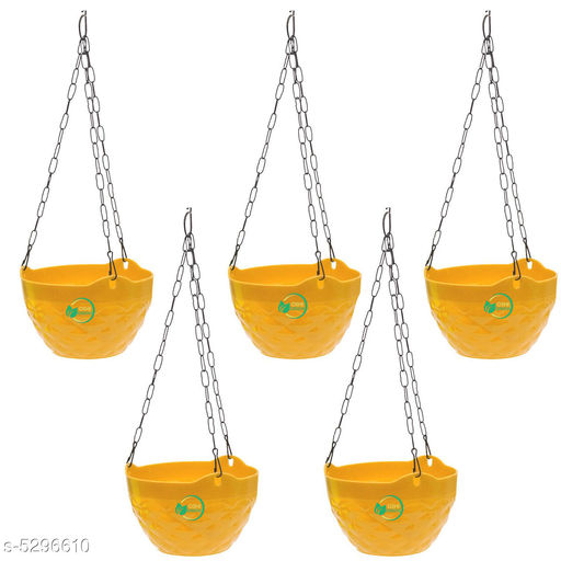 Lovely Plastic Flower Hanging Pots With Chain