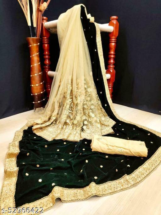 Half Half dark green Saree with Heavy embroidery Lace and Stone Work sari