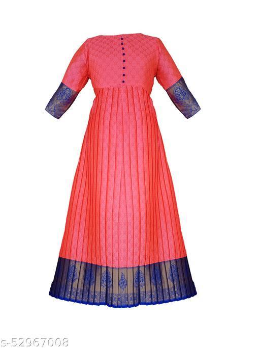 Women's South Indian Silk Gown Banarasi Model One Piece Maxi Long Dress Traditional Full Length Sungudi Anarkali Long Frock For Women Readymade Fullstiched Gaun