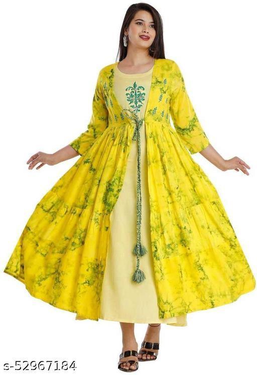 KISHVI Womens Kurta & jacket (Yellow)
