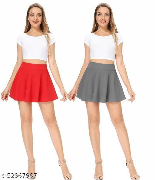 RL Fashion Women Stretch Waist Flared Mini Skater Short Skirt_Red-Grey