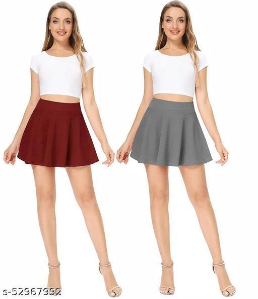 RL Fashion Women Stretch Waist Flared Mini Skater Short Skirt_Maroon-Grey