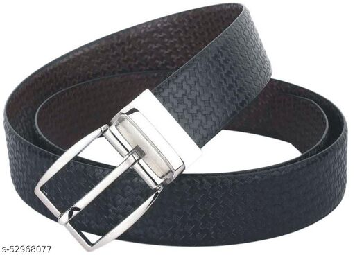 Brand Premium Reversible Buckle Belt, Stylish Genuine leather Black and Brown Colour, Chrome Plated for Men's and Boy's, Casual and Formal, Size-Cut To Fit (Black/Brown Textured)