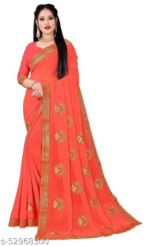 Padmalata Creation Orange  Saree With Designer Border.