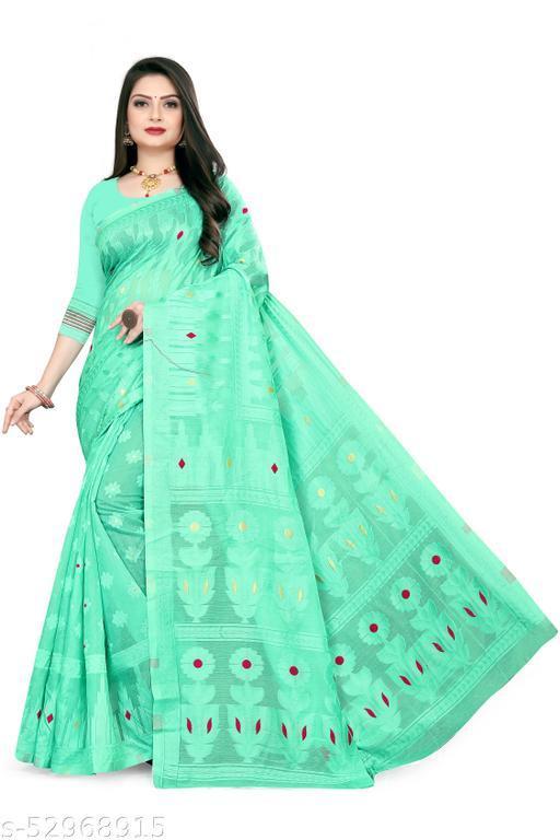 Dhra Creation Present Pure Cotton Jamadni Light Weight Transparent  Saree With Blouse.