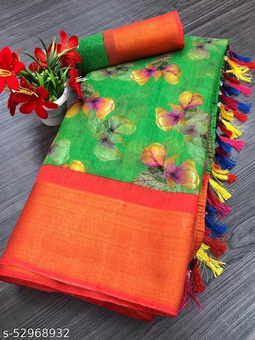 Dhra Creation Present Soft Litchi Cotton Slub Saree With Blouse.