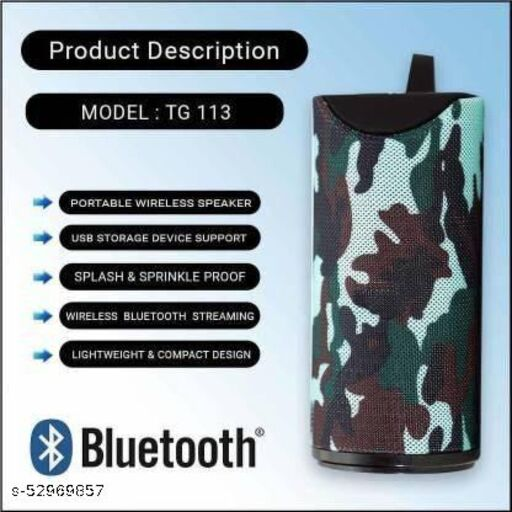 TG-113 Ultra DJ Sound Blast Speaker Portable Best Bluetooth Speaker tg 113 with Super deep Bass Wireless Rechargeable dj Sound Bluetooth Speaker Support TF/USB/Pen Drive/AUX (Army)