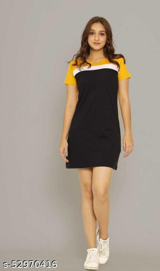 Women Bodycon Yellow, Black Dress