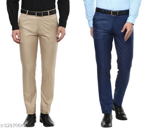 Inspire Jacu Pack Of 2 Slim Formal Trousers (Beige & Blue)