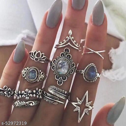 11 Pcs Boho Kunckle Ring Stackable Rhinestone Silver Joint Nail Ring Crystal Knuckle Rings Set for Women