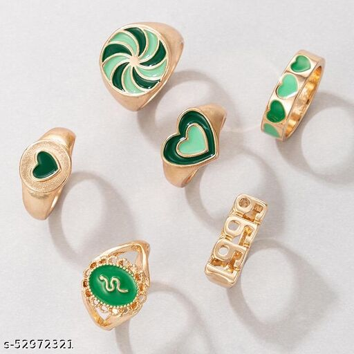 6 pcs Y2K Chunky Gold Stacking Rings Thick Dome Enamel Stackable Finger Band Ring Set Heart Flower Snake 1999 Signet Ring Jewelry for Women and Girls Green